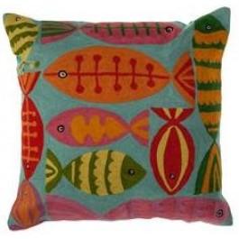 Capa de Almofada Quadrada Bordada Zeenat Fish