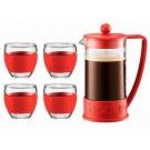 Conj Cafeteira Brazil 1L + 4 Copos Bodum Vermelho